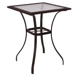 NEW Outdoor Patio Rattan Wicker Bar Square Table Glass Top Yard Garden Furniture