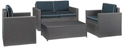 Crosley Furniture Palm Harbor 4-Piece Outdoor Wicker Conversation Set with Navy Cushions – ...