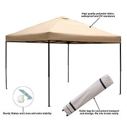 Blissun 10 x 10 Ft Outdoor Portable Instant Pop-Up Canopy Tent with Roller Bag (Beige)