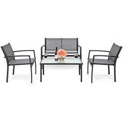 Best Choice Products 4-Piece Patio Metal Conversation Furniture Set w/Loveseat, 2 Chairs, and Gl ...