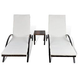 Festnight Set of 2 Outdoor Patio Wicker Chaise Lounge Chair ,1 Table, W / Cushions Sun Lounger S ...