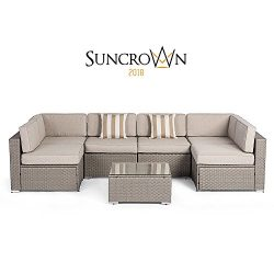 Suncrown Outdoor Modular Sectional Furniture Set (7-Piece) All-Weather Grey Wicker with Light Gr ...