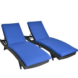 Outdoor Patio Black Rattan Wicker Adjustable Cushioned Chaise Lounge Chair(Royal Blue Cushions,S ...