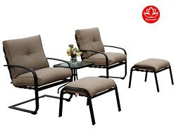 Kozyard Habana Patio 5PCS Spring Conversation Sets with Beige Cushion and Ottoman Great for Pati ...