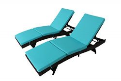 Outdoor Patio Brown Rattan Wicker Adjustable Cushioned Chaise Lounge Chair(Turquoise Cushions,Se ...