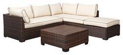 Ashley Furniture Signature Design – Loughran Outdoor Sectional Set – Loveseat Sectio ...