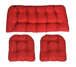 RSH Décor Indoor/Outdoor Wicker cushions Two U-Shape and Loveseat 3 Piece Set Solariuim Aynova C ...