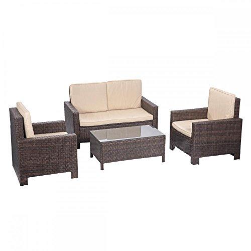 Bestmassage 4 Pieces Outdoor Patio Pe Rattan Wicker Sofa