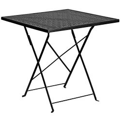 "Flash Furniture 28"" Square Black Indoor-Outdoor Steel Folding Patio Table"