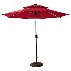 FLAME&SHADE 9 feet Solar Panel LED Lights Double Top Outdoor Patio Market Umbrella with Cran ...