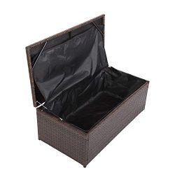 Peach Treeresin Resin Wicker Deck Box Outdoor Patio Furniture Brightwood PE Rattan Deck Box,Sto ...