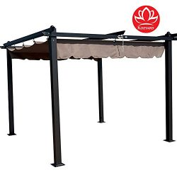 Kozyard Columbia 10′ x 10′ Feet Aluminum Outdoor Canopy Grape Trellis Pergola with S ...