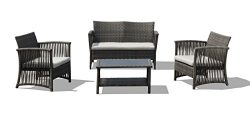 Lourde Living Silver Collection Tuvalu 4 Piece Rattan Wicker and Steel Outdoor Patio Furniture C ...