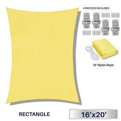 Windscreen4less 16′ x 20′ Rectangle Sun Shade Sail – Solid Canary yellow Durab ...