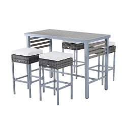 Outsunny Steel 5 Piece Patio Rattan Wicker Dining Table Chairs Conversation Set -Grey/Cream White