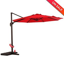 LCH 10ft Offset Cantilever Umbrella Outdoor Patio Backyard Market, Easy Open Lift, 360 Degree Ro ...
