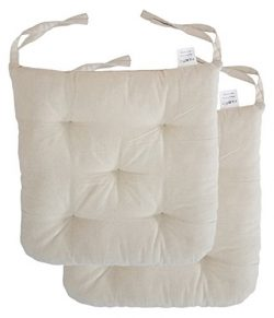 """Cottone 100% Cotton Chair Pads w/ Ties (Set of 2)   16"""" x 15"""" Round Square   Extra-Comfortable & ..."""