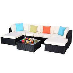 Do4U 3-12 Pieces PE Rattan Wicker Sofa Sectional Sofa Set Outdoor Patio Furniture Set (7 Pieces, ...