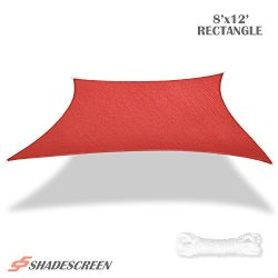 Shade Screen 8′ x 12′ Sun Shade Sail for Patio Backyard Deck UV Block Fabric – ...