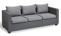 Keter Salta 3-Seater Seating Patio Sofa with Sunbrella Cushions in a Resin Plastic Wicker Patter ...