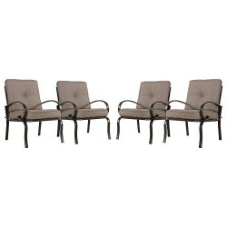 Cloud Mountain Set of 4 Club Chairs Outdoor Patio Wrought Iron Dining Chairs Garden Furniture Se ...