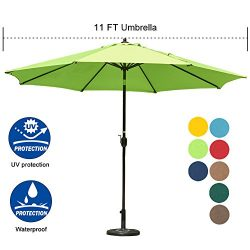Sundale Outdoor 11 ft Aluminum Patio Umbrella Table Market Umbrella with Crank and Push Button T ...