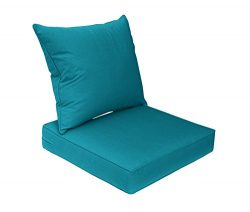 Bossima Sunbrella Indoor/Outdoor Spectrum Peacock/Teal Blue Deep Seat Chair Cushion Set,Spring/S ...