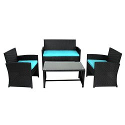 URSTAR 4 Pieces Outdoor Patio Furniture Set, Yard Garden with Loveseat, Chairs and Coffee Table  ...