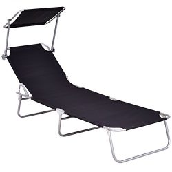 Giantex Folding Lounge Chair Relaxer Bed with Sun Shade Outdoor Portable Recliner w/Adjustable R ...