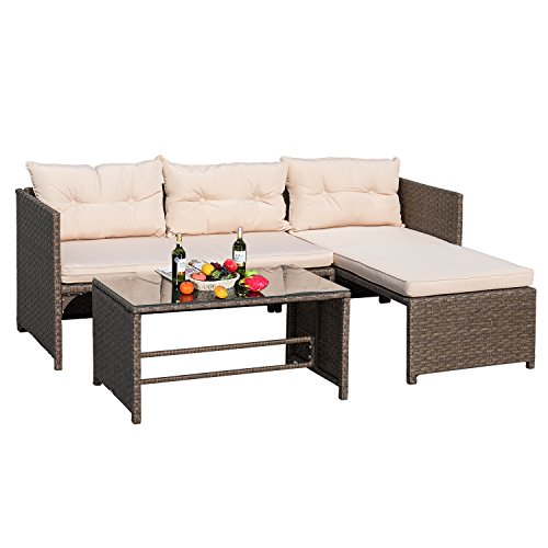 Devoko 3 Pieces Rattan Sectional Garden Patio Furniture