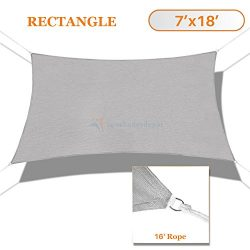 Sunshades Depot 7′ x 18′ Sun Shade Sail Square Permeable Canopy Light Gray/Grey Cust ...