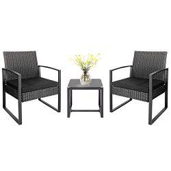 Homall 3 Pieces Patio Furniture Sets Clearance Bistro Set Patio Outdoor Rattan Patio Conversatio ...