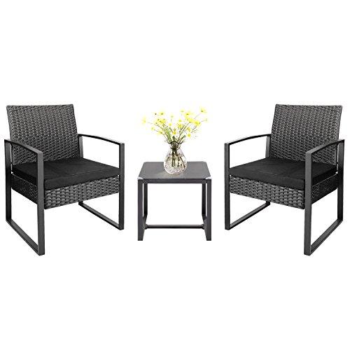 excellent outdoor wicker patio furniture sets   Homall 3 Pieces Patio Furniture Sets Clearance Bistro Set ...