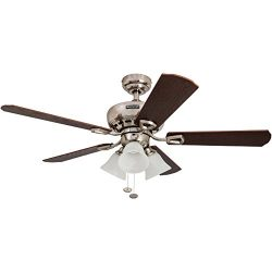 Honeywell Springhill 44-Inch Ceiling Fan with Swirled White Light Shades, Five Reversible Warm C ...