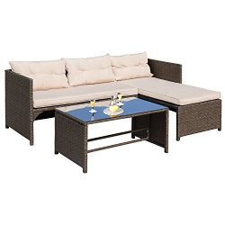 Homall 4 PC Wicker Outdoor Patio Furniture Set Rattan Sofa,Outdoor/Indoor Use for Backyard Porch ...