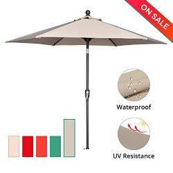LCH 9 Ft 6 Ribs Outdoor Umbrella Patio Backyard Table Umbrella Sturdy Pole Push Button Easily Ti ...
