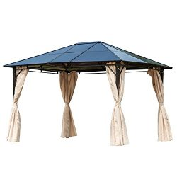 Outsunny 10′ x 12′ Steel Outdoor Steel Hardtop Party Gazebo Tent Canopy Cover Durabl ...