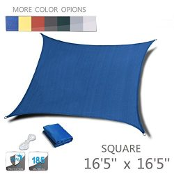 "Love Story 16'5"" x 16'5"" Square Blue UV Block Sun Shade Sail Perfect for ..."