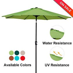 LCH 9Ft 8 Ribs Patio Umbrella Backyard Garden Aluminum Umbrella Sturdy Pole Strong Tilt Easy Cra ...