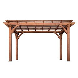 Backyard Discovery 1802513 Wooden Cedar Pergola, 10′ x 14′, Red Cedar Stained