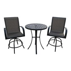 Backyard Expressions 913018 3 Piece Bar Height Swivel Chair Set with Metal Slat Table 3, Tan