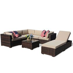 PATIOROMA Outdoor Furniture Sectional Sofa Set (7-Piece Set) All-Weather Brown Wicker with Beige ...