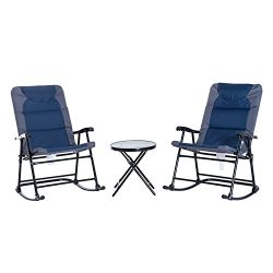 Outsunny 3-Piece Folding Outdoor Rocking Chair and Table Set – Blue and Grey