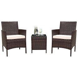 Flamaker Patio Furniture Conversation Set Cushioned PE Wicker Rattan Chairs with Coffee Table 3  ...