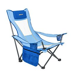 #WEJOY Outdoor Beach Folding Chair with Pillow Cup Holder Pocket Mesh Back for Garden Patio Lawn ...