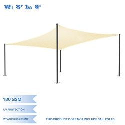E&K Sunrise 8′ x 8′ Beige Sun Shade Sail Square Canopy – Permeable UV Bloc ...