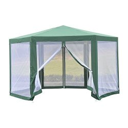 Outsunny Outdoor Hexagon Party Gazebo with Mesh Side Walls
