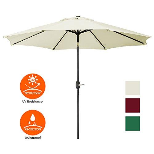 UHINOOS Patio Umbrella, 9 Ft Durable Alloy And Ribs