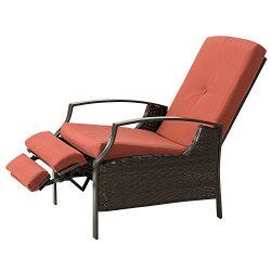 Marble Field Patio Wicker Adjustable Recliner Chair, Relaxing Lounge Chair with Thick Spunpoly C ...