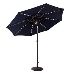 FLAME&SHADE 9′ LED Light Patio Outdoor Market Umbrella with Crank Lift, Push Button Ti ...